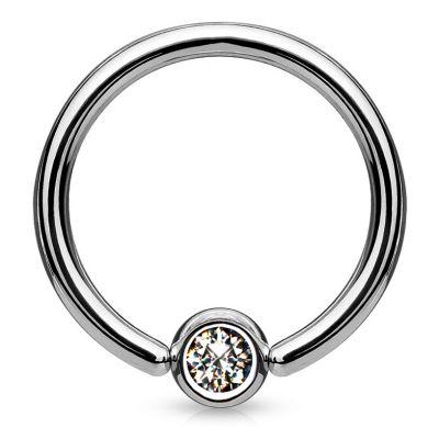 Captive bead ring in titanium with gemstone