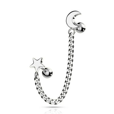 Star and crescent moon linked with a chain