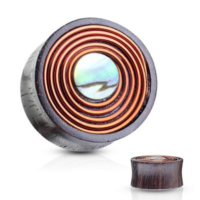 Plug with mother-of-pearl and copper wire made from wood
