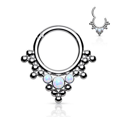 Hinged ring in titanium with clustered beads and opals