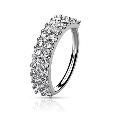 Ring with double row of clear stones