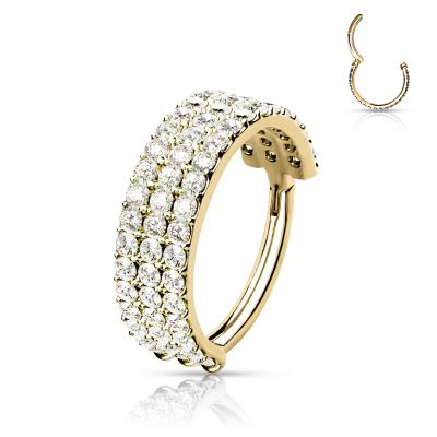Hinged ring in 14k gold with rows of stones