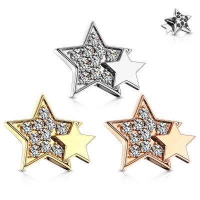 Paviršinis auskaras su žvaigždutėmis
