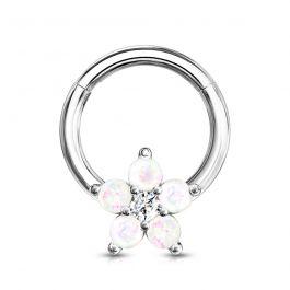 Žiedas su kilpa ir gėle iš opalo akmenių